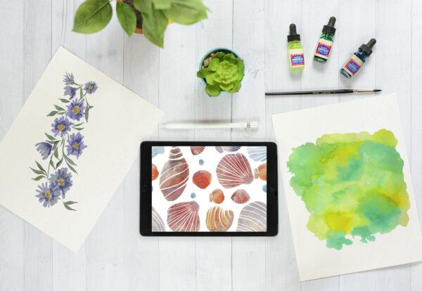 desktop mockup iPad and paper free
